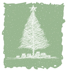 hand drawn of christmas tree with snow flakes in vector image vector image