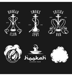 Set of hookah labels badges and design elements vector image