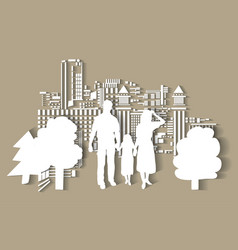 silhouette city people family flat vector image