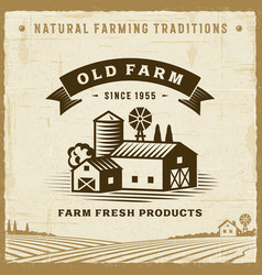 vintage old farm label vector image vector image