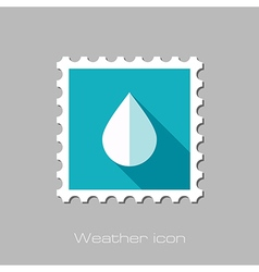 Water rain drop flat stamp meteorology weather vector