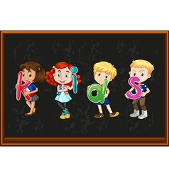 Children holding alphabets on the board vector image