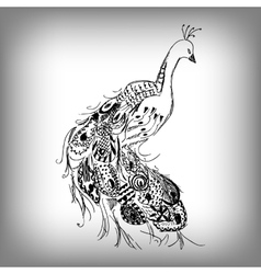 Hand drawn Peacock for anti stress Coloring Page vector image
