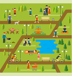 rest in a public park camping in the park vector image vector image