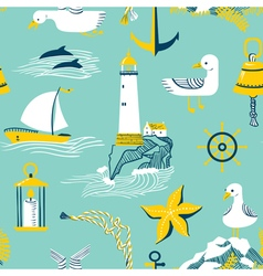 Seamless pattern with marine issues vector image vector image