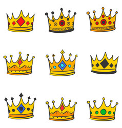 various style gold crown doodles vector image