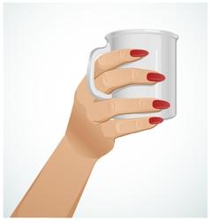 Woman hand with a mug version 3 vector image