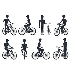 black silhouettes of bicyclist riding on bike vector image