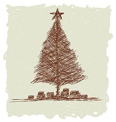 christmas tree vintage vector image vector image
