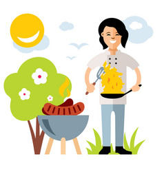 Cook with burning pan flat style colorful vector