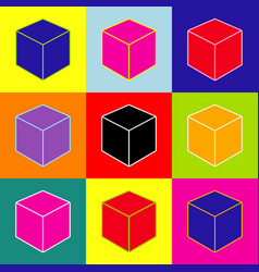 cube sign pop-art style vector image