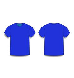 dark navy blue male t-shirt template v-neck front vector image