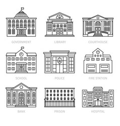 education and government thin line buildings vector image vector image