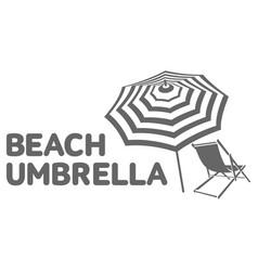 logo template with beach umbrella and sun bathing vector image