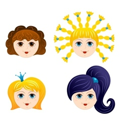 Set of girls faces 1 vector image vector image