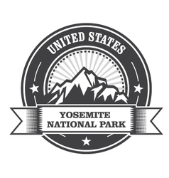 Yosemite National Park round stamp with mountains vector image vector image