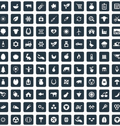 100 agriculture farm icons set vector image