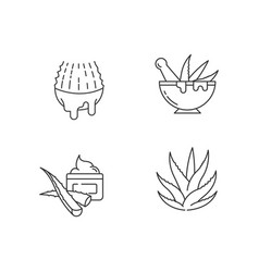 Aloe vera pixel perfect linear icons set juice vector