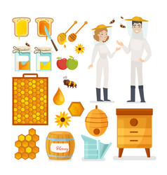 apiarists bees and honey flat vector image