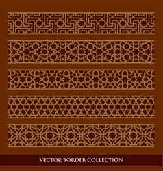 Arabic seamless geometric golden border with dark vector