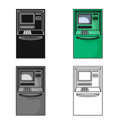 Atm icon in cartoon style isolated on white vector
