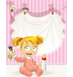 baby girl pink openwork announcement card vector image vector image