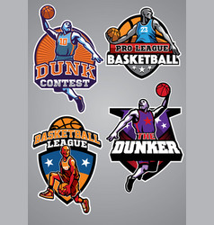 Basketball badge design collection vector