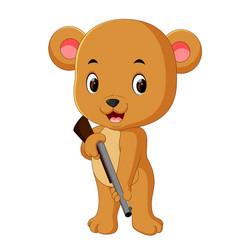 bear holding gun vector image