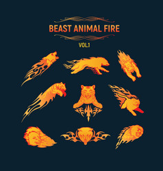 beast animal flame set vector image
