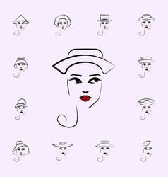 bicorn hat girl icon hat girl icons universal set vector image