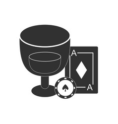 Black icon on white background ace chip poker cup vector