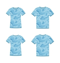 Blue short sleeve t-shirts templates with the vector image