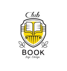 Book club logo design heraldic shield with open vector