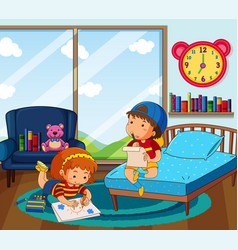 Boy and girl drawing picture in bedroom vector