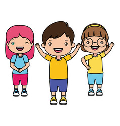 boy and girls happy cartoon vector image