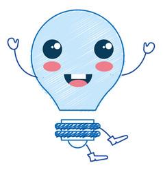 bulb light kawaii character vector image