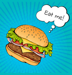 Burger with cheese pop art vector