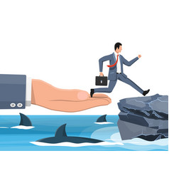 Businessman jumping over shark in water vector