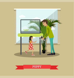 Buying a puppy in flat style vector
