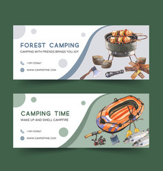 Camping banner design with stove inflatable boat vector