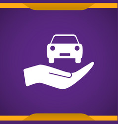 Car in hand icon vector