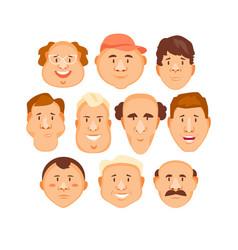 cartoon portraits men set vector image