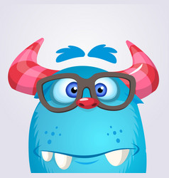 Cartoon yeti monster wearing glasses vector