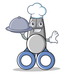Chef with food scissor character cartoon style vector