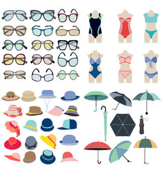 collection icon of summer fashion accessories in vector image