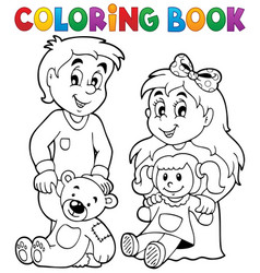 Coloring book children with toys 1 vector