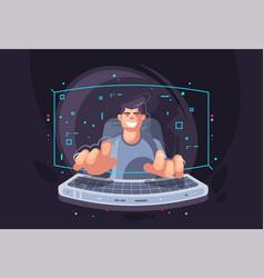 creative a young programmer vector image