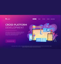 Cross-platform development concept landing page vector