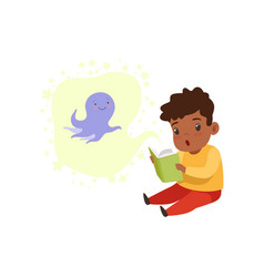 Cute little boy reading a scary book kids vector