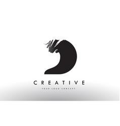 D brushed letter logo black brush letters design vector